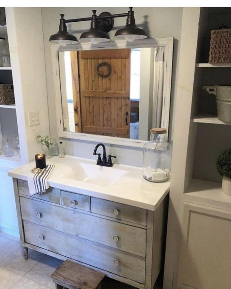 White rustic looking bathroom vanity