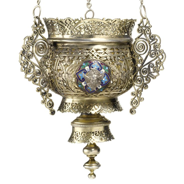 A silver and enamel lampada, maker's mark IM in Cyrillic, town mark indistinct, 1899-1908.