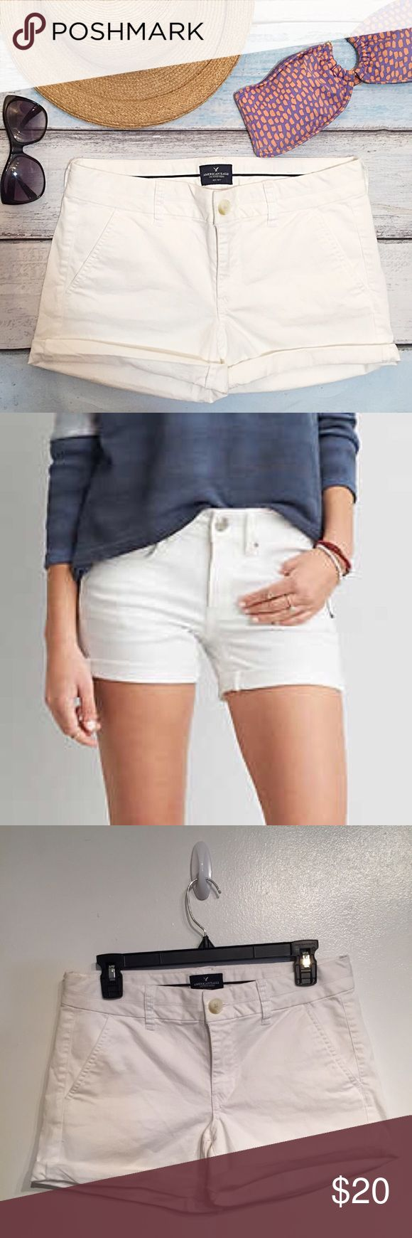 """American Eagle Outfitters White Midi Shorts American Eagle Outfitters white Midi shorts. Great basic staple item. Size 6. Measures 16"""" flat at waist, and 4"""" inseam while cuffed or 5.5"""" inseam uncuffed. No modeling. Smoke free home. I do discount bundles. American Eagle Outfitters Shorts Jean Shorts"""
