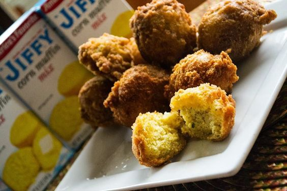 """These are the best hush puppies ever! Try it with your next fish fry. 1 pkg. """"JIFFY"""" Corn Muffin Mix 1 egg 1/3 cup milk 1/4 cup flour 1/..."""