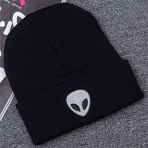 illfly Women's Aliens Bonnet Saucer Space E.T UFO Knit Hat Embroidery ski Knitted Hats Female Winter Caps Men Beanies Girl Caps
