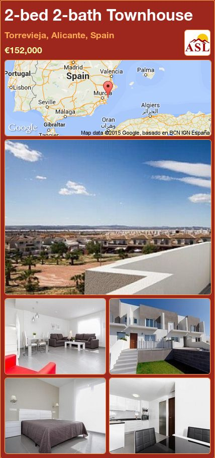 2-bed 2-bath Townhouse in Torrevieja, Alicante, Spain ►€152,000 #PropertyForSaleInSpain