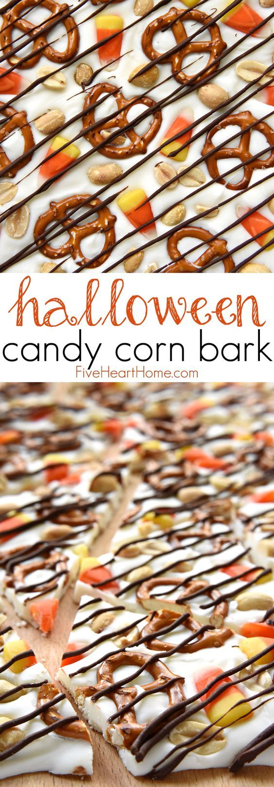 Halloween Candy Corn Bark ~ this sweet and salty homemade candy recipe features white chocolate studded with candy corn, pretzels, and peanuts, then drizzled with semisweet chocolate for a fun and tasty Halloween treat! | FiveHeartHome.com