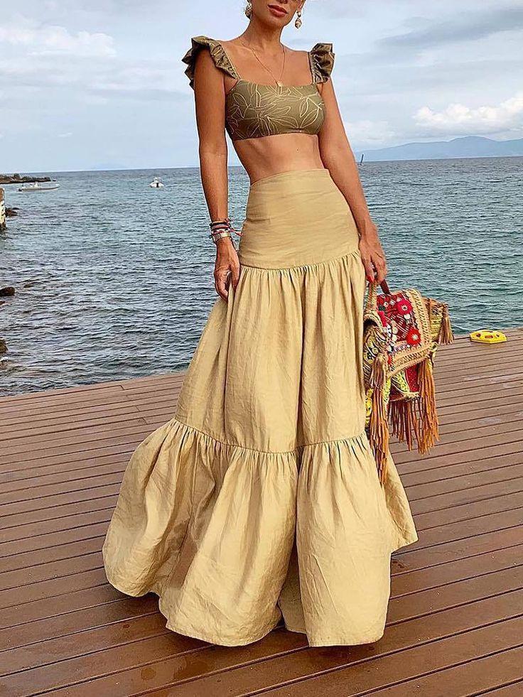 Casual Pleated Splicing Pure Colour High-Waist Skirt 1