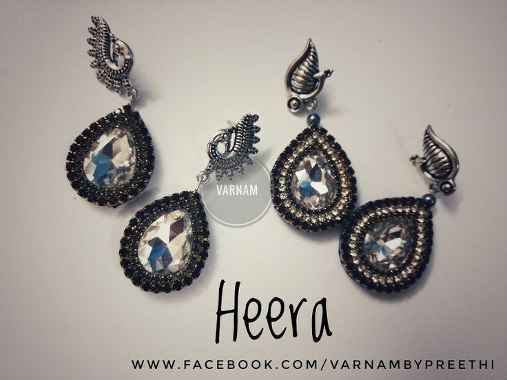 Paper base rhinestone bling!!  Code name: Heera #handmadelove #varnambypreethi #heera #paperbase #chennai #accessories #rhinestones #earrings #trendy