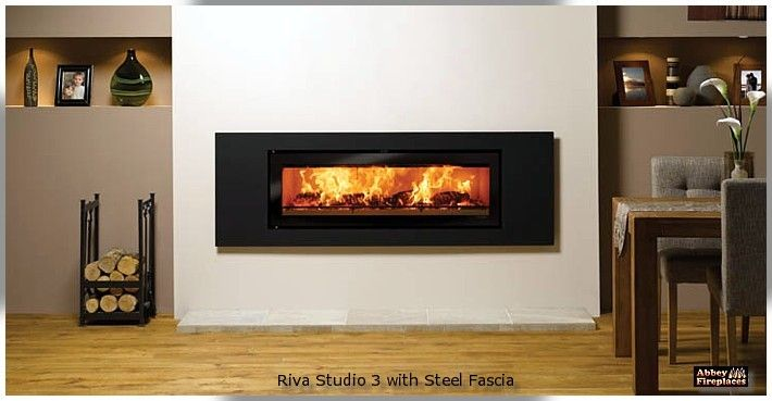 The Stovax Riva Studio 3 inbuilt wood heater by Abbey Fireplaces.