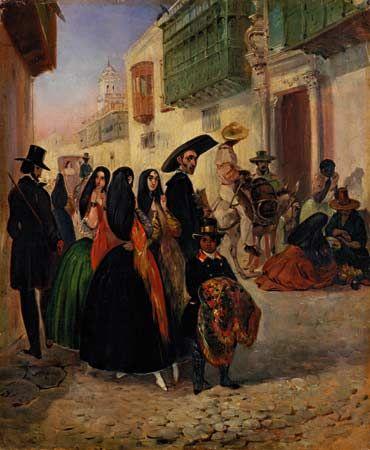 """""""Uma Rua de Lima"""". (by Johann Moritz RUGENDAS)."""
