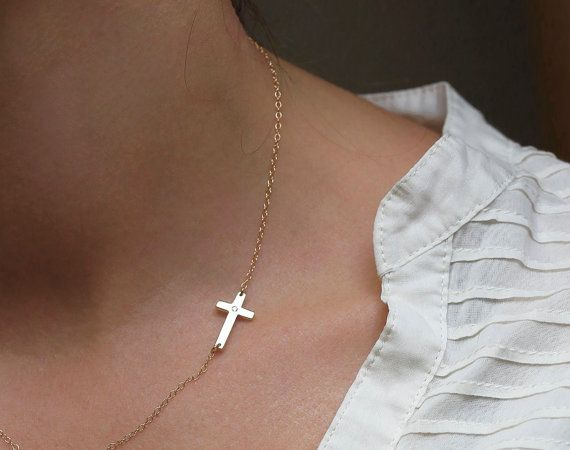 14k Solid Gold Sideways Cross Necklace Diamond Cross by MinimalVS