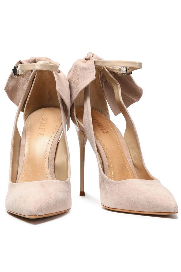 54f35afcd91 SCHUTZ Bow-embellished suede and patent-leather pumps