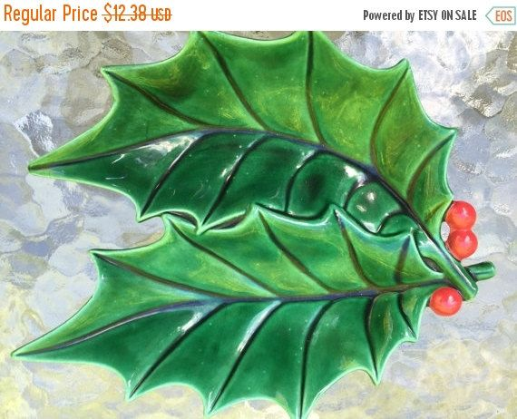 Candy Dish Double Holly Leaf Candy Dish Atlantic Pottery Ceramic Glazed Snack…