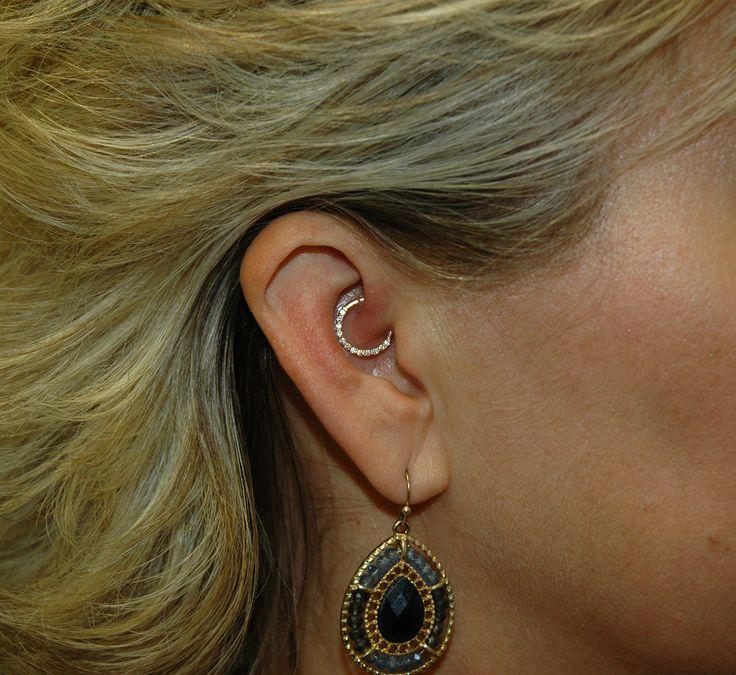 "Healed Daith piercing with a beautiful Yellow Gold ""clicker"". #daith #ear #piercing #gold #bling #body_gems #imperialbodyart #imperial #idaho #meridian #boise #body_piercing"