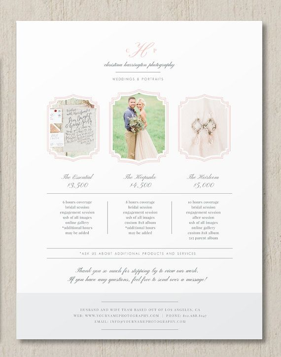 Photography Pricing Template - Photographer Pricing Guide - Customizable Price List - Photography Branding - Beautiful images courtesy of @sharonnicole