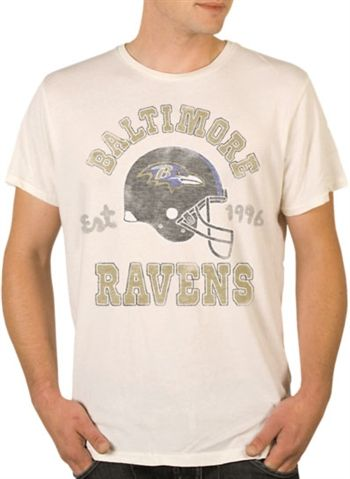 Baltimore Ravens Shirt by Junk Food  This officially licensed NFL shirt by Junk Food features a vintage print of the Baltimore Ravens team helmet along with the year the team was established.    Fabric Details        Color: Off White      100% cotton    Our Price: $24.95  - See more at: http://www.oldschooltees.com/Baltimore-Ravens-Shirt-by-Junk-Food-p/nfl004.htm#sthash.luYxjsPV.dpuf