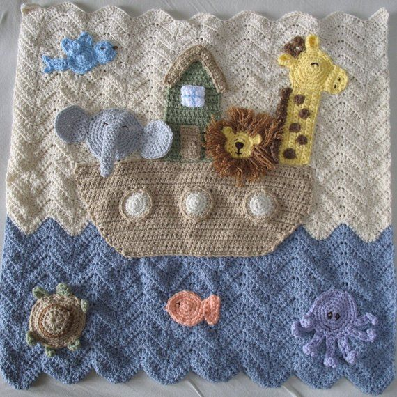 Great Baby Gift. Personalised KNITTED /'Boat/' Themed Baby Blanket
