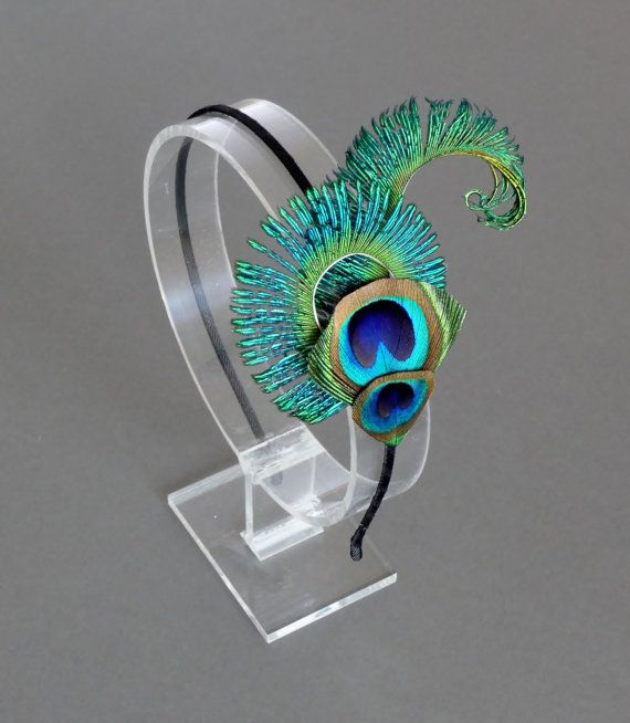 PEACOCK EYE Feather Headband Black Turquoise Blue Green Feather Fascinator Wedding Bridesmaids Bridal Hair Accessory 'Peacock Curl' £15.99 from A Feathered Affair UK.