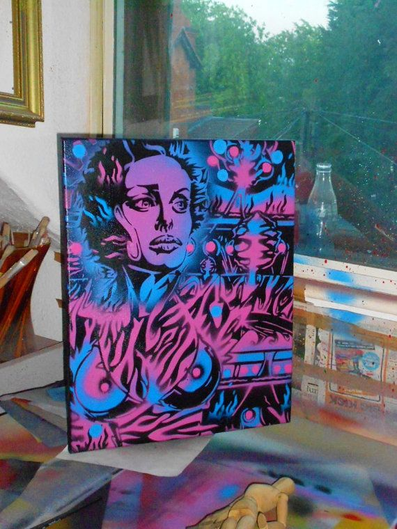 Neon jungle paintingstencil artspray by AbstractGraffitiShop