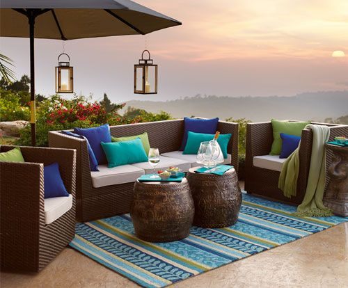 Here's where I want to be right now.   Cure cabin fever. Shop Pier 1 Outdoor Furniture: The Ciudad Collection.