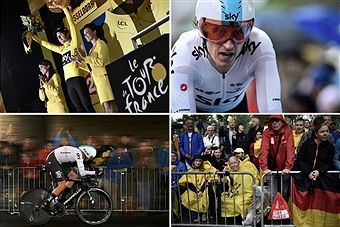 A combination of pictures shows (From L, Up to bottom) Great Britain's Geraint Thomas celebrating his overall leader yellow jersey on the podium ; Great Britain's Geraint Thomas crossing the finish line - Great Britain's Christopher Froome riding ; and fans waiting along the road ; as part of a 14 km individual time-trial, the first stage of the 104th edition of the Tour de France cycling race on July 1, 2017 in and around Dusseldorf, Germany.