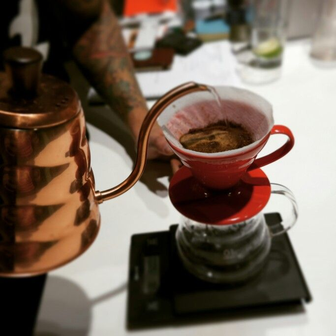 Brewing some Warrior Coffee with Hario V60 dripper and Copper Kettle at our café.
