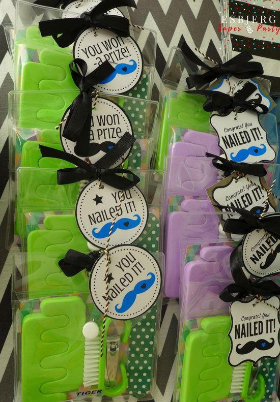 Mustache themed baby shower favor gifts. #esbjergsuperparty