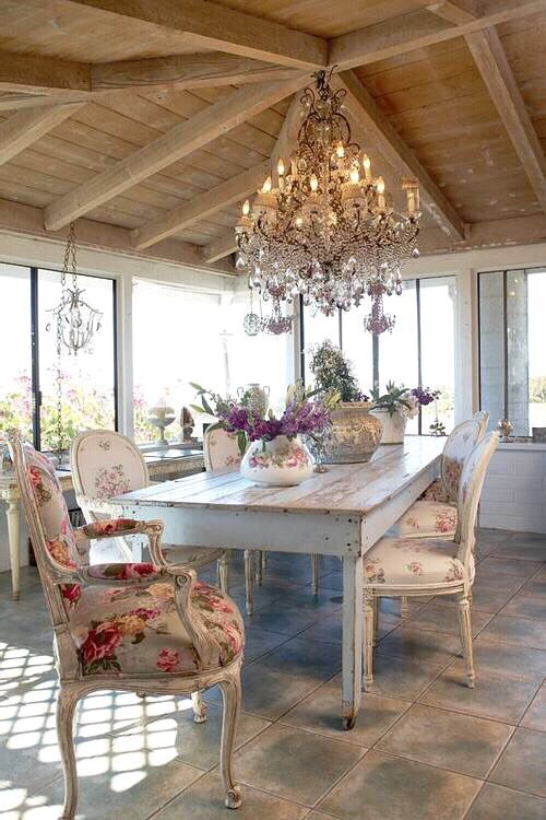 French Country Dining Table. Pretty chairs.