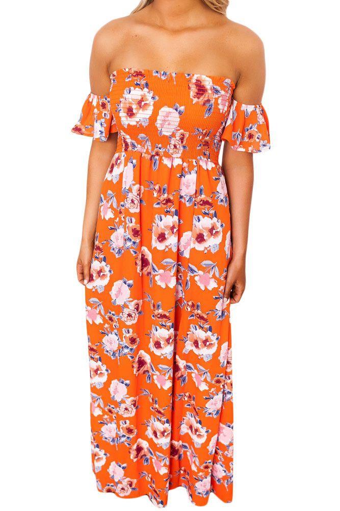 Chicloth Orange Floral Print Elastic Bandeau Top Off Shoulder Boho Maxi Dress