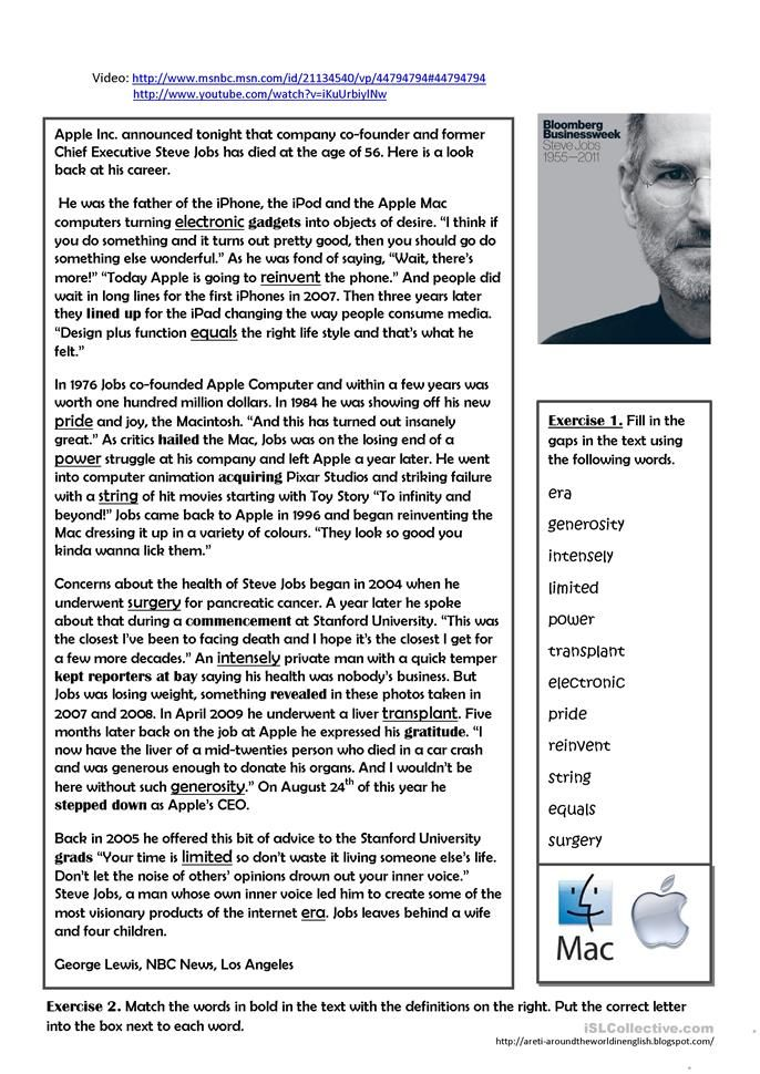 A Look Back At The Life Of Steve Jobs English Esl Worksheets For Distance Learning And Physical Steve Jobs Biography Reading Comprehension Lessons Steve Jobs