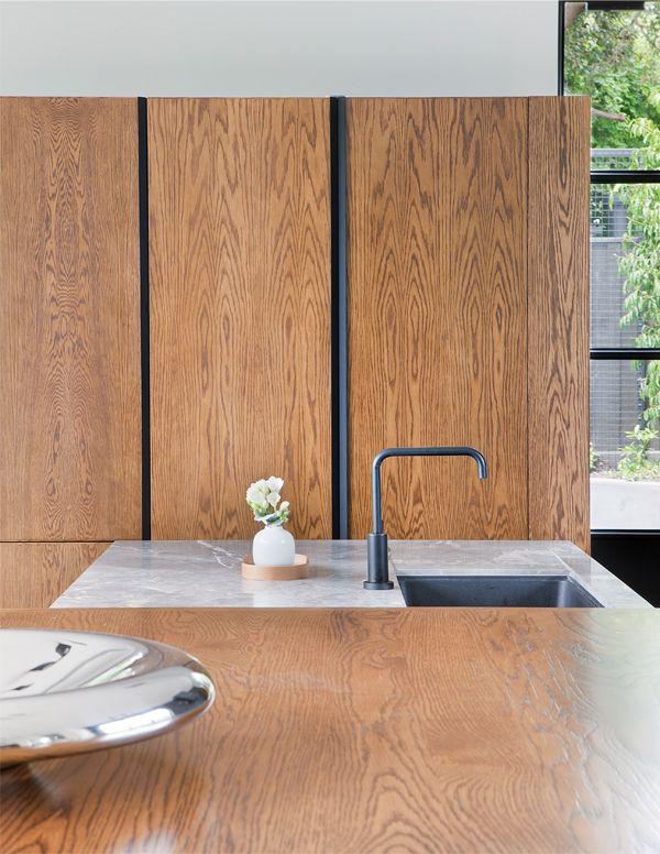 Beatrix Rowe // Cantebury House // Photographer: Shannon McGrath // timber; custom steel door pulls; stone inlaid bench