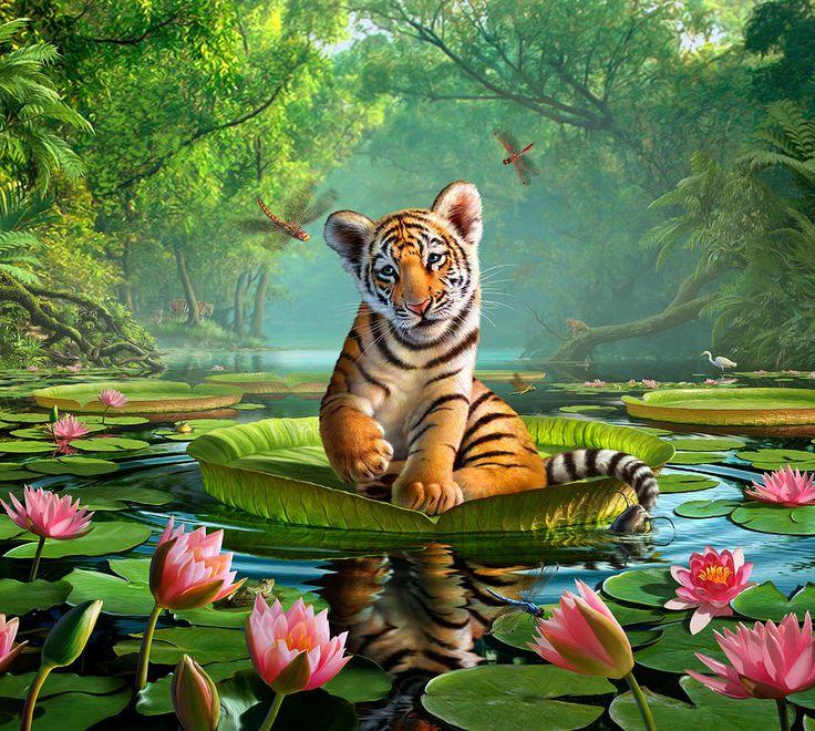 Открытка с тигрой