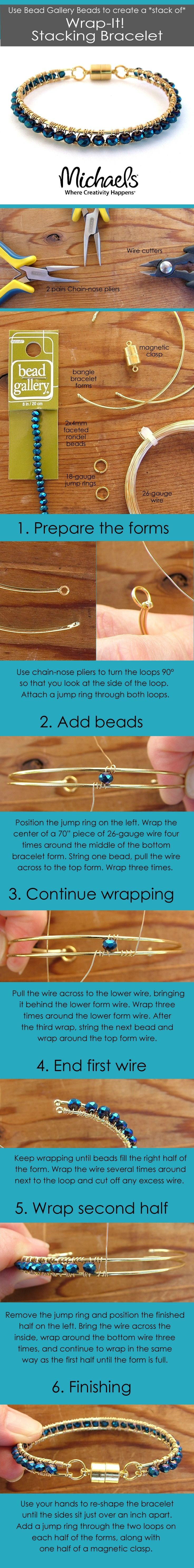 Use Bead Gallery Beads to create a stack of Wrap-it Stacking Bracelet. Available at your local Michaels Store