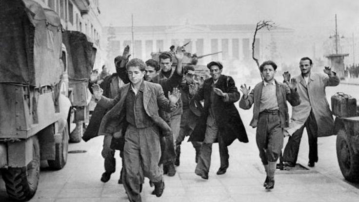 Battle of Athens, December 1944. British troops battling communist guerrillas round up suspected communists under fire.