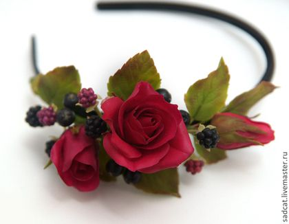 Диадемы, обручи ручной работы. Ярмарка Мастеров - ручная работа. Купить Ободок с розами и ягодами. Handmade. Ободок для волос