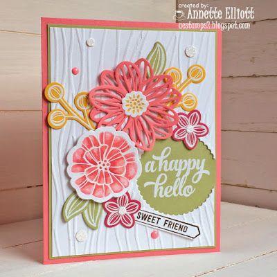 Falling Flower framelits and Seaside embossing folder find at Stampin' Up! New In color Flirty Flamingo