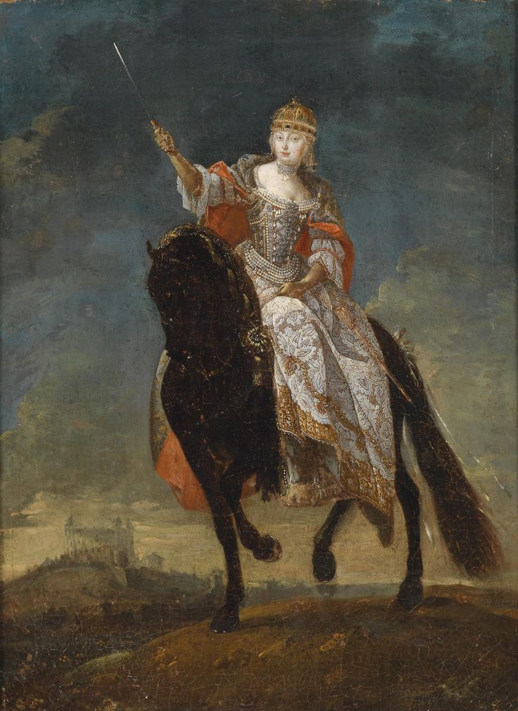 Empress Maria Theresa as Queen of Hungary in coronation regalia on her horse.