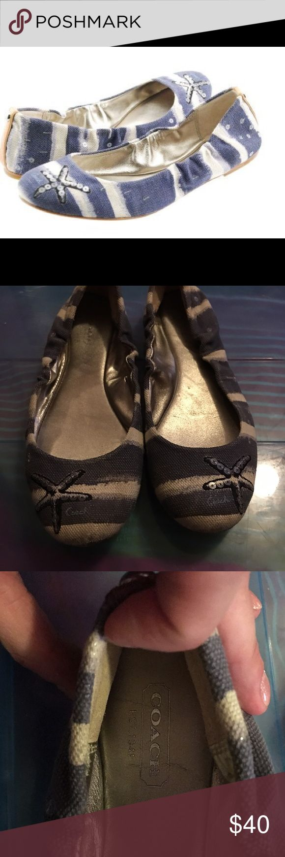 Coach Addy starfish striped canvas ballet flats Great condition Coach flats that are perfect for summer! no major scuffing, but they do show a little bit of wear. I wore them about 5x. Coach Shoes Flats & Loafers