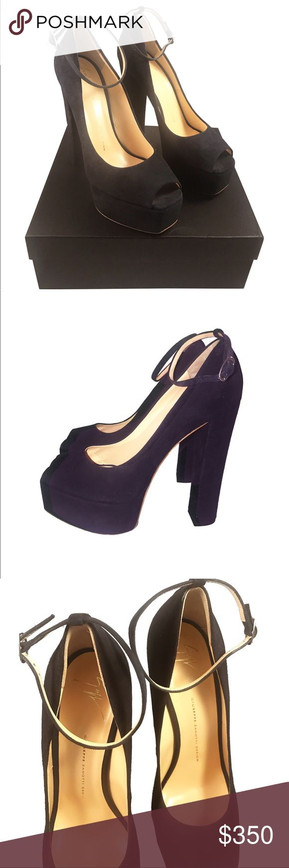 """Giuseppe Zanotti Suede Peep-Toe Pump Size 41 New with box.  Size 41.  Fits like a US 10 or 10.5,  however, know your Giuseppe Zanotti size prior to purchase as no returns will be given for incorrect size.  Has been tried on and handled in store.  Please see photographs for details.    Thanks for looking! Final sale, no returns.   Giuseppe Zanotti suede pump. 4"""" covered heel with platform. Peep toe. Adjustable ankle strap. Lightly padded footbed. Smooth outsole. Made in Italy. Giuseppe…"""