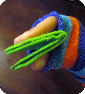 Easy Monster Sock Puppet Tutorial | Six Sisters' Stuff use cardboard to stiffen mouth of sock puppet