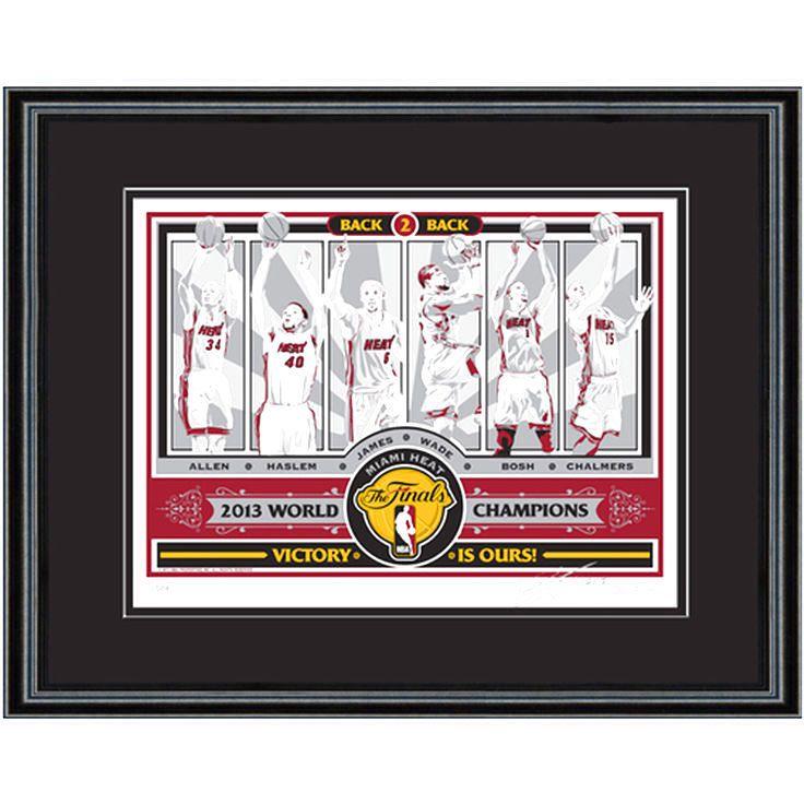 Miami Heat 2013 NBA Finals Champions 18'' x 24'' Framed Sports Propaganda Screen Print - $103.99