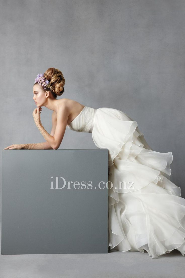 strapless draped organza cascading ball gown wedding dress from idress.co.nz