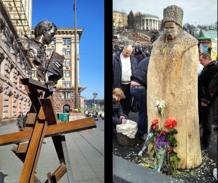 Crowd-sourced wooden sculpture of Shevchenko near Kyiv's Maidan. March 2014. Photo by Peter Fedynsky.