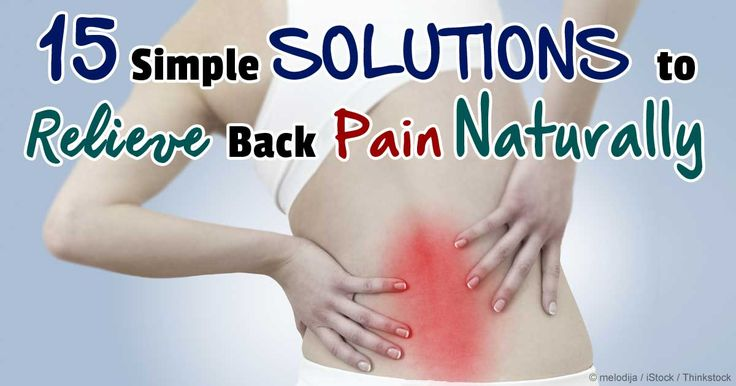 Some of the best natural remedies for back pain include chiropractic care, exercise, stress reduction, and K-laser therapy. http://articles.mercola.com/sites/articles/archive/2014/07/23/back-pain-natural-remedies.aspx