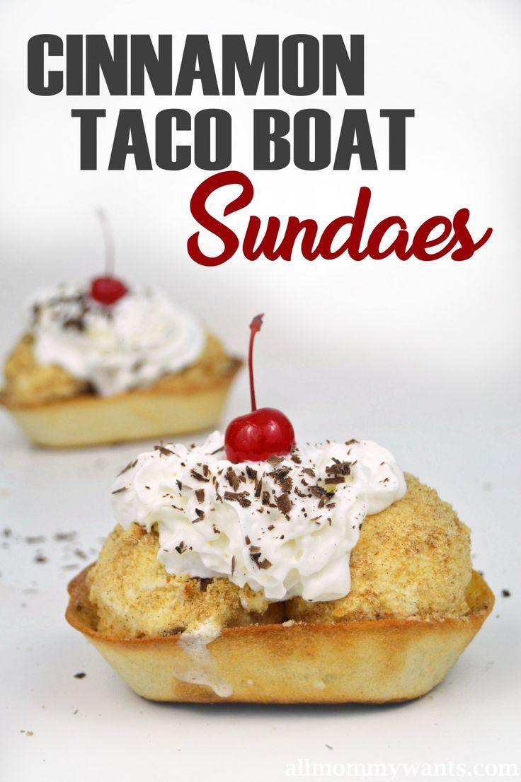 awesome Recipe: Cinnamon Taco Boat Sundaes! I used Old El Paso Taco Boats for them - so yummy! #OEPBigGame ad