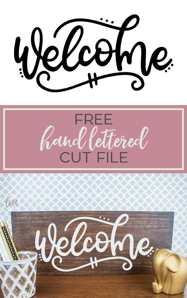 Free hand lettered welcome svg dxf eps png jpg vector graphic clip art cut file