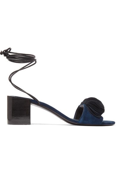 Mercedes Castillo - Riza Leather-trimmed Appliquéd Suede Sandals - Midnight blue - US5
