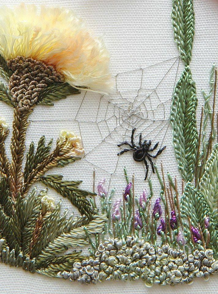 What a delightful little piece this is for winter project. I'm just amazed how crafty some can be with textiles. The three dimensional dandelion is over the top talent and the spider quite handsomely stitched as well.