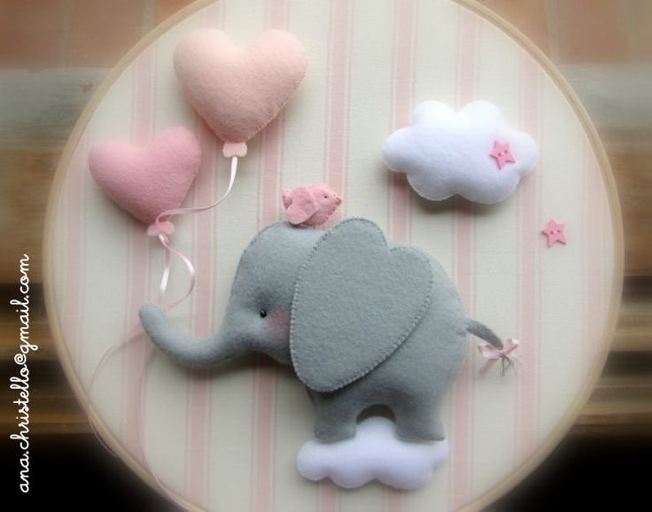 baby room decor - elephant & hearts