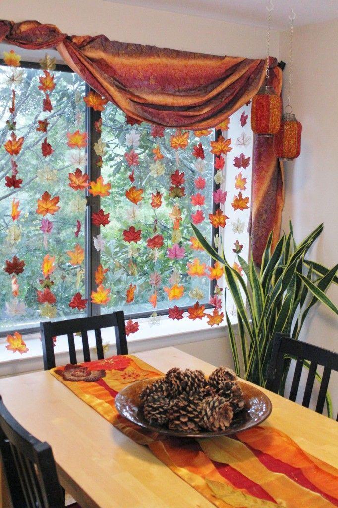 Home Design Ideas, Impressive Autumn Fall Theme Orange Colored How To Decorate Windows Spiralling Curtain Mapple Tree Leaves Pine Fruit On Table: simple valances how to decorate windows blinds