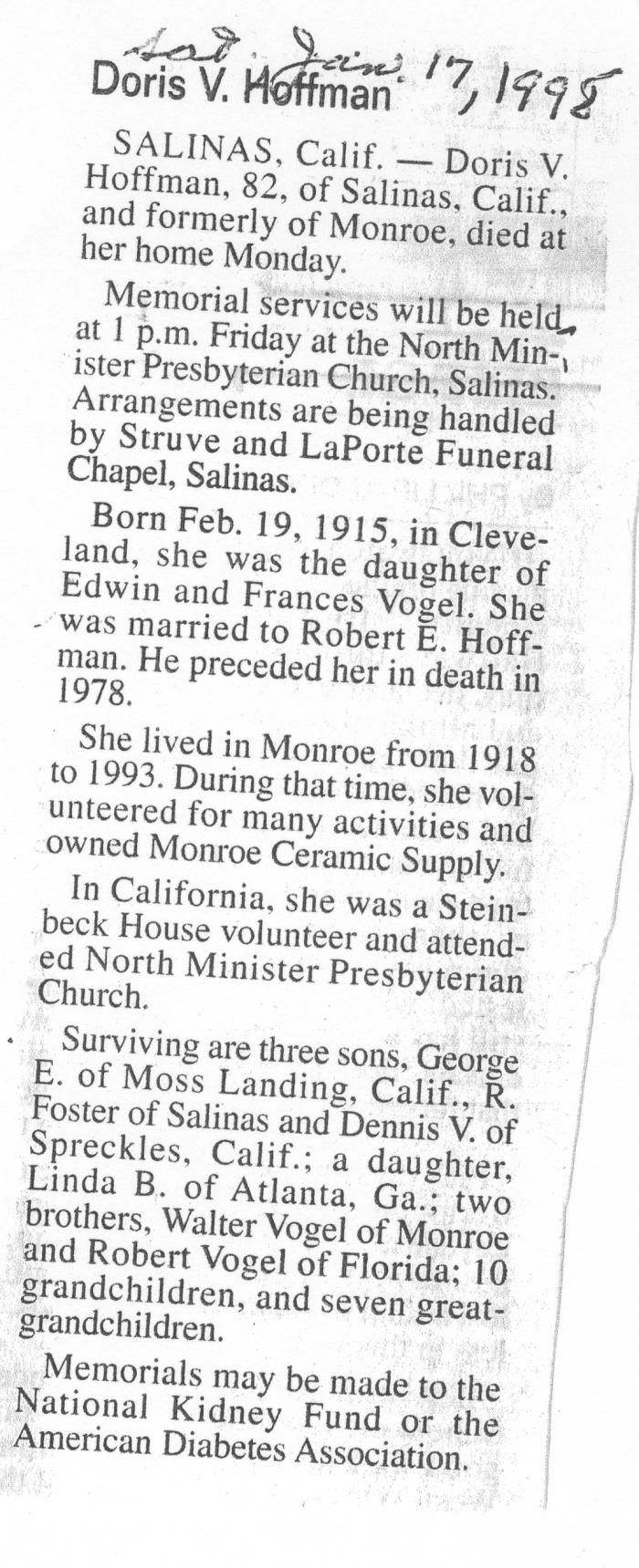 Obituary of Doris V. Hoffman born Feb.19, 1915 in Cleveland, Ohio. Resided in Monroe, Michigan and Salinas, California