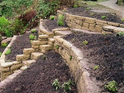 how to terrace a slope with stone