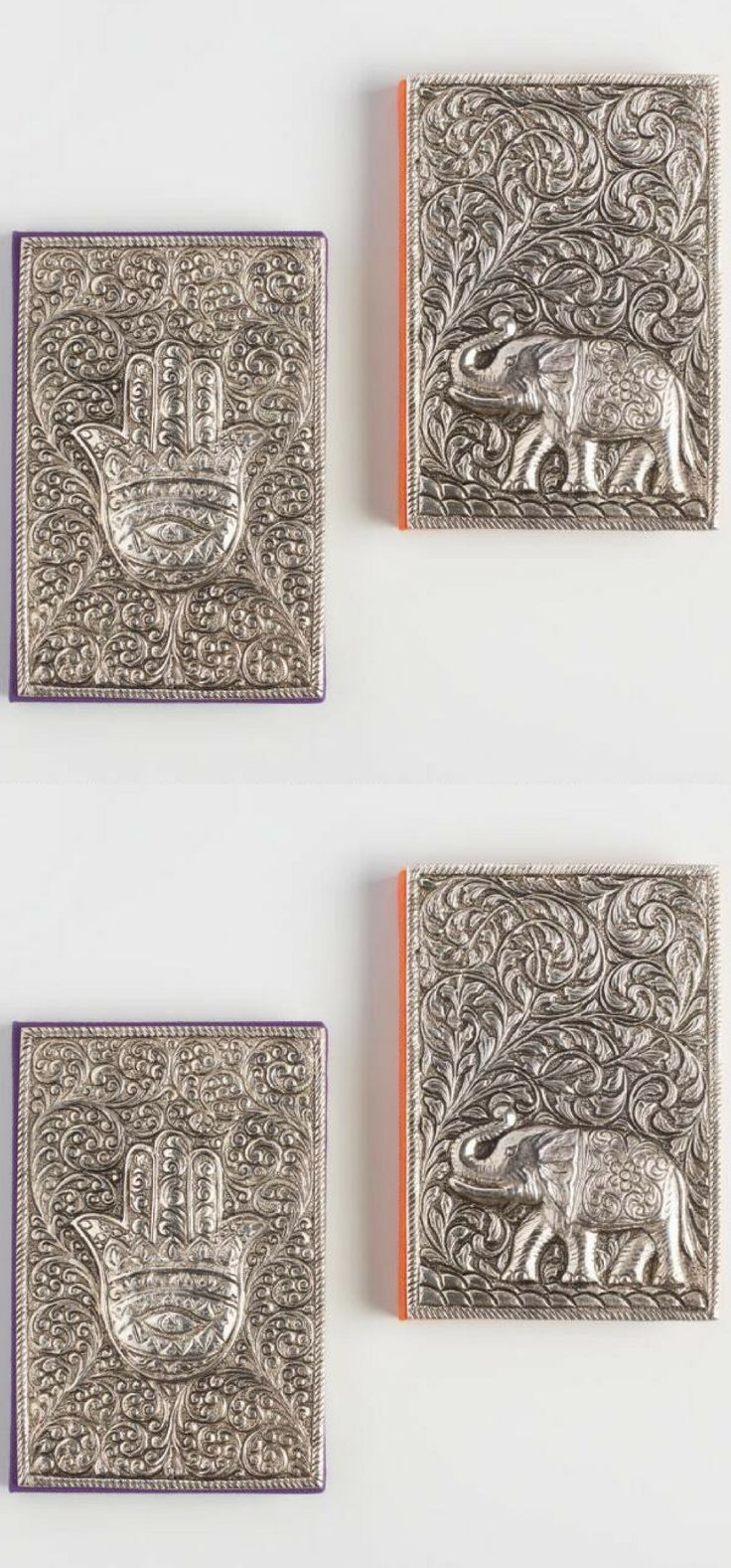 i love these handcrafted embossed  metal covers depicting an elephant and hamsa symbol, which are meant to  inspire happiness, luck and wisdom. They are perfect for people who love to write or are serious about journaling!!!! #shopping #love #bulletjournaling #ad #giftideas #giftsforher #giftsforhim #holidaygifts